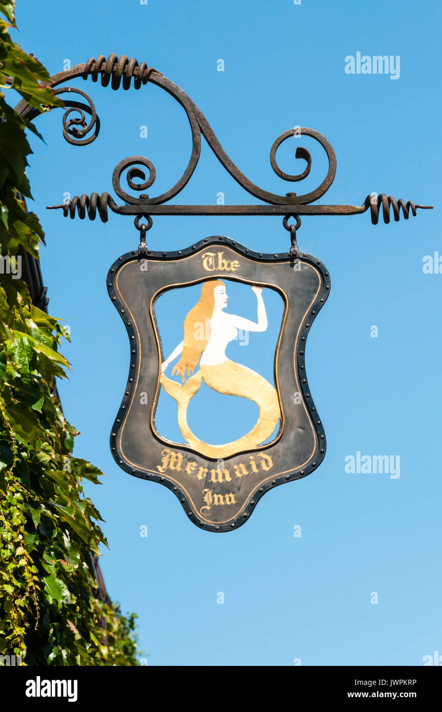 The pub sign for the Mermaid Inn in Rye, East Sussex. - Stock Image