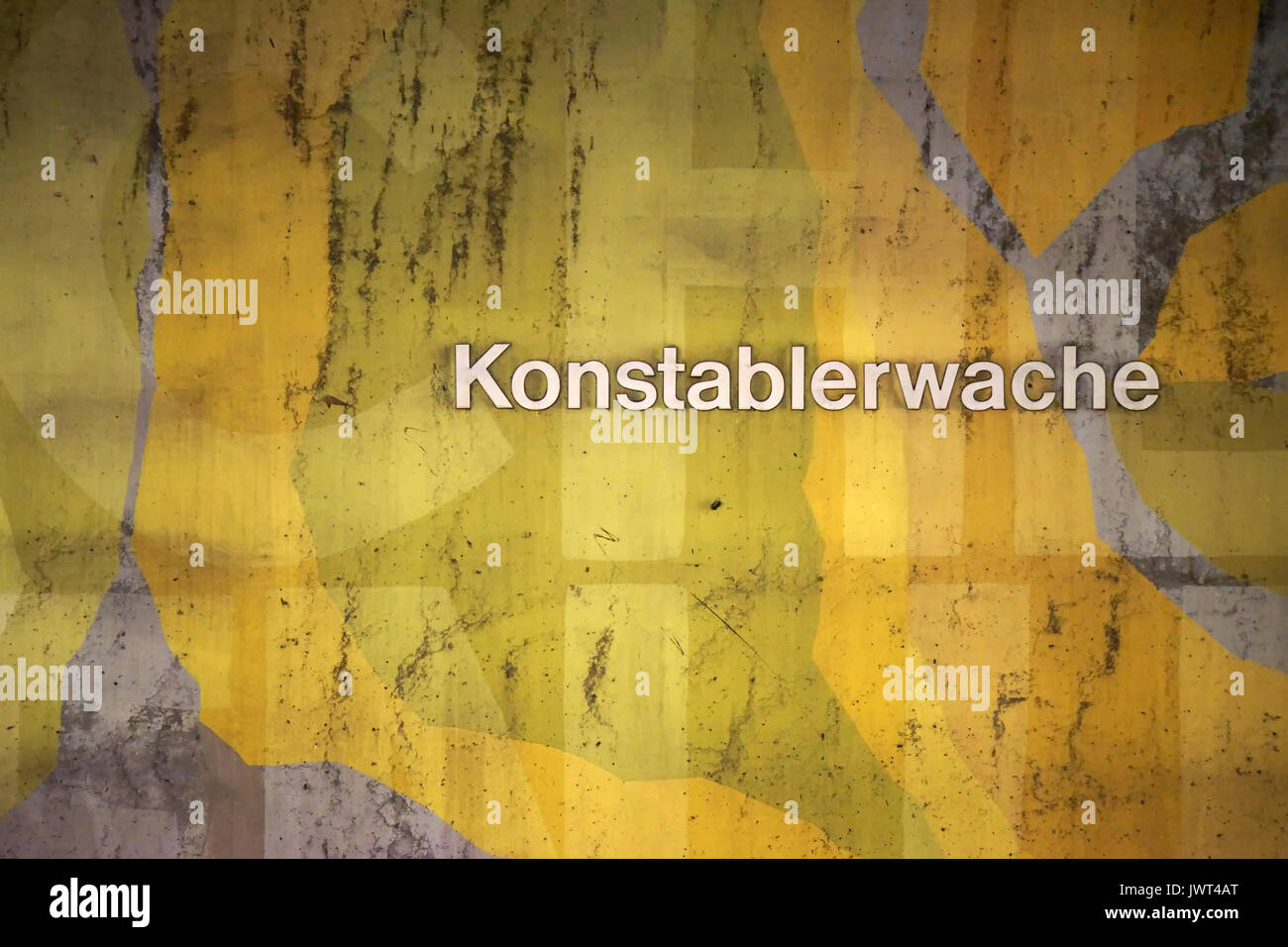 The sign of the subway station Konstablerwache on a wall patterned ...