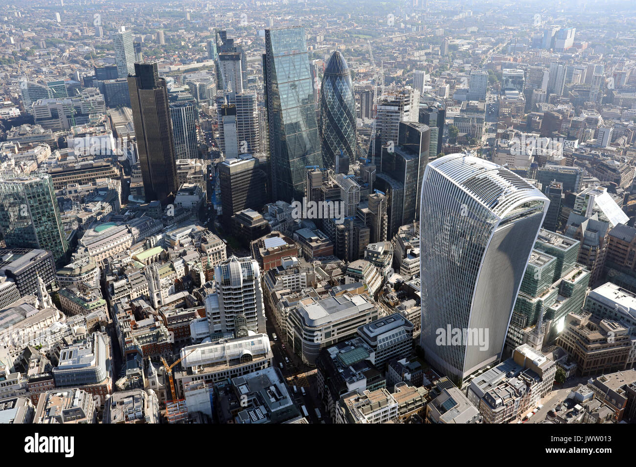 aerial view of The City of London - Stock Image
