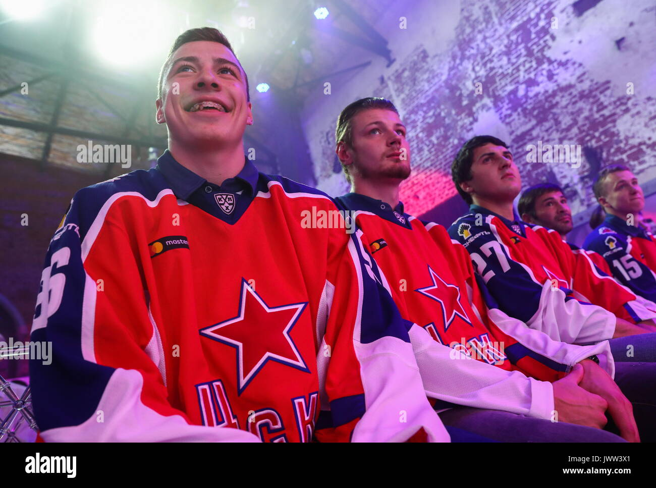 Moscow, Russia. 13th Aug, 2017. Forwards Andrei Kuzmenko, Valery Nichushkin, and Kirill Petrov (L-R) at the unveiling - Stock Image