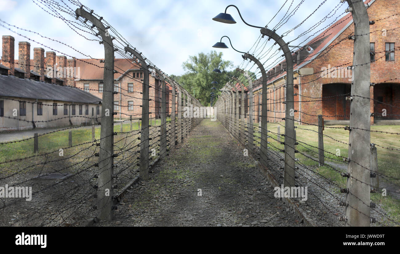 The Barbed Wire Fence Had Been An Electric In Former Stock Wiring Auschwitz Concentration Camp Oswiecim Poland 26 June 2017