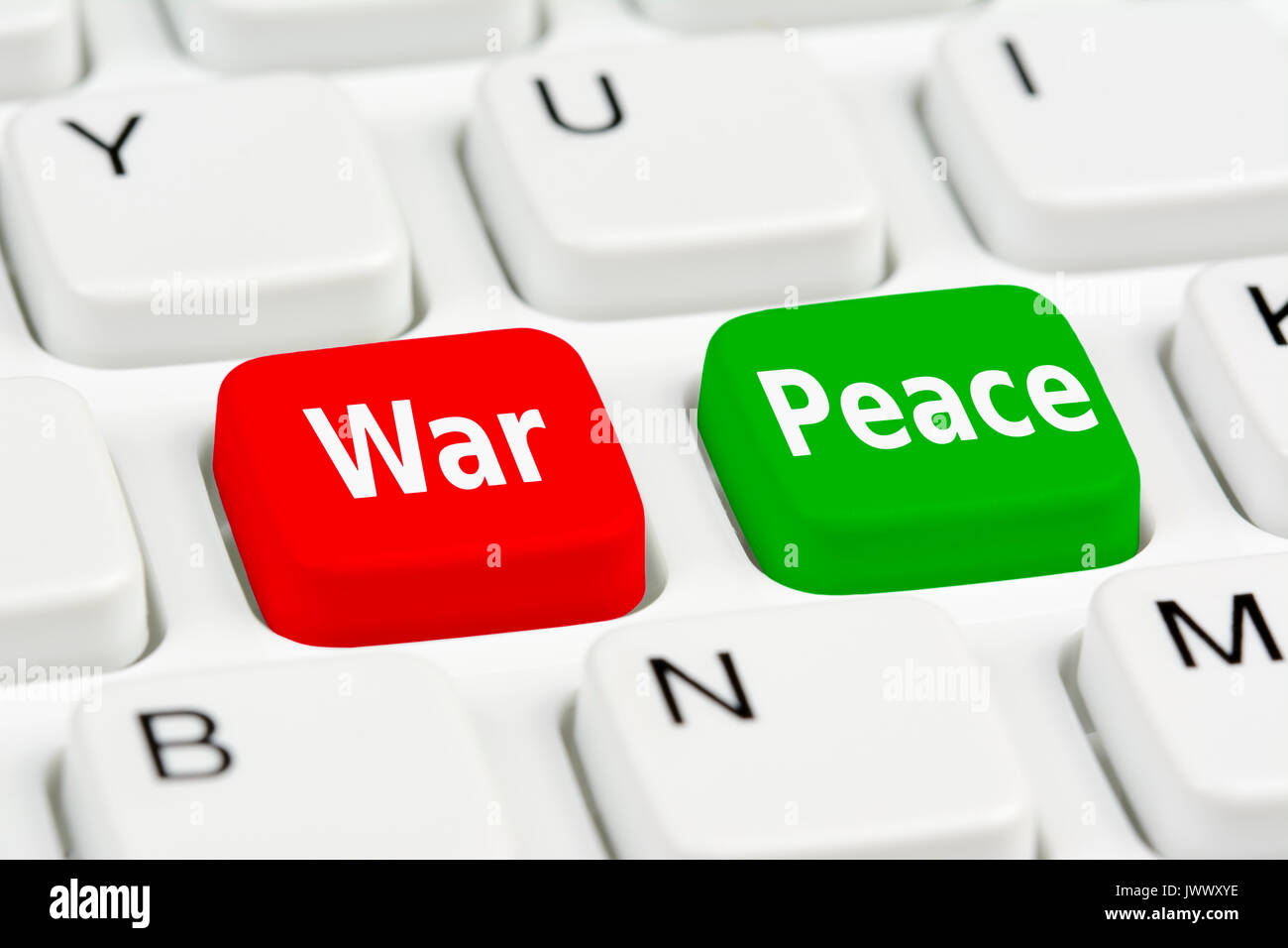 War and Peace buttons on a computer keyboard. - Stock Image
