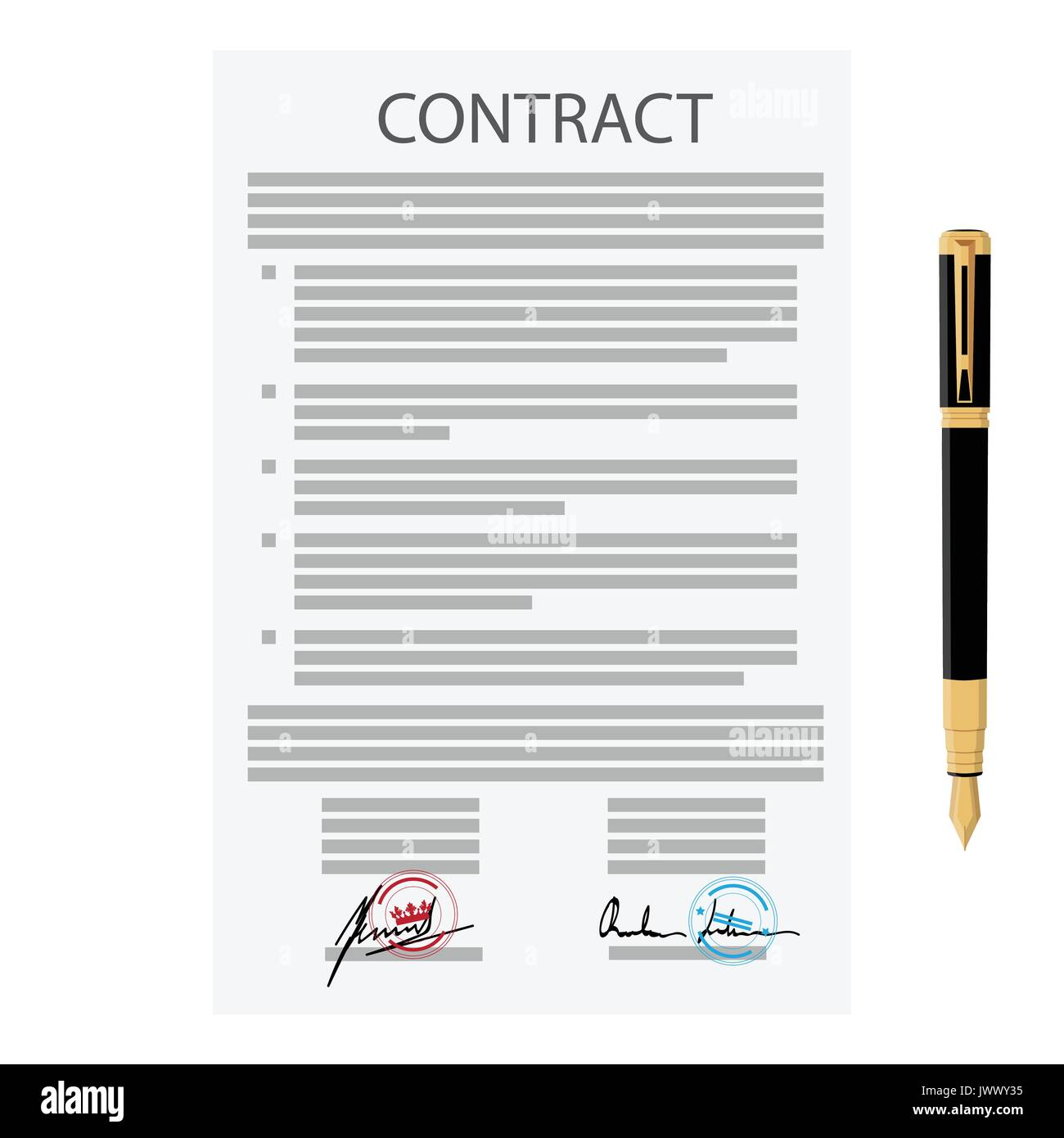 Vector Illustration Of Signed Business Contract Agreement Icon With