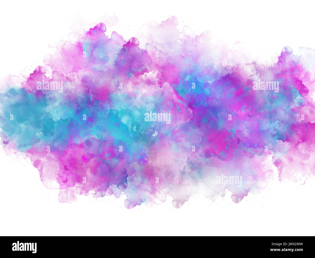 artistic blue and pink watercolor splash effect template on white