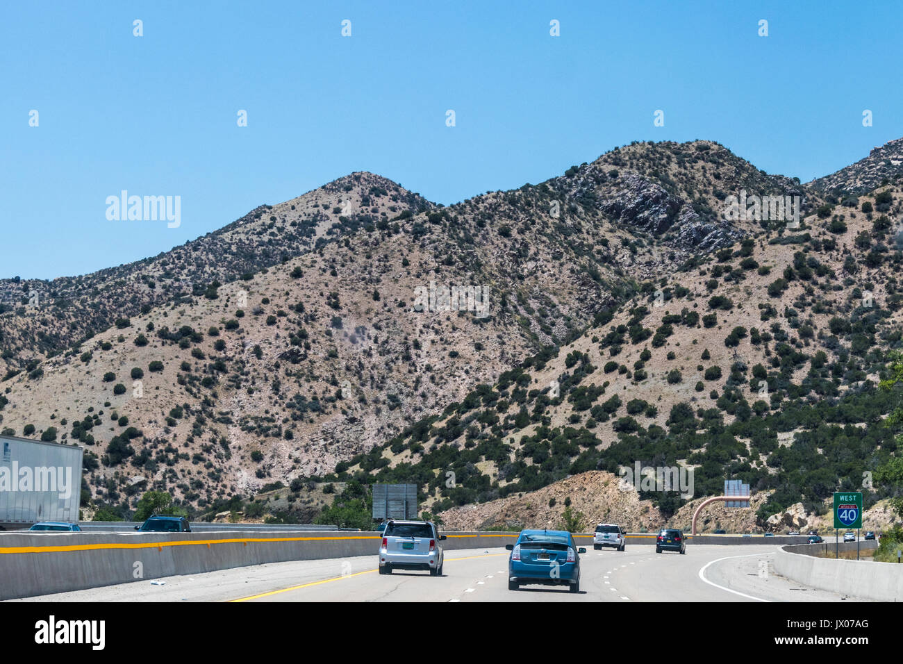 interstate 40 in new mexico with famous route 66 tourism stock photo