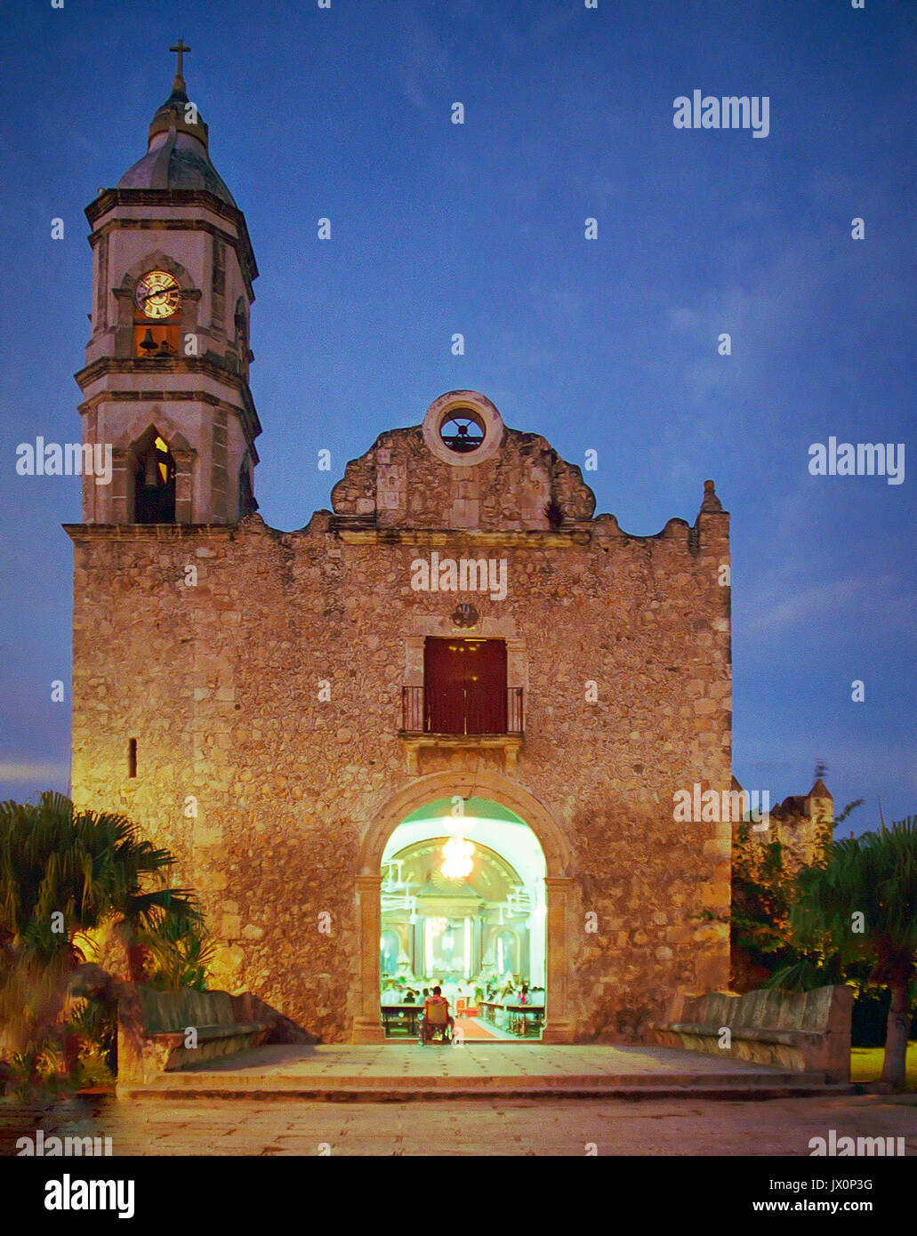 Evening service in process at the Church of the Black Christ which is also known as San Roman Church in Campeche - Stock Image