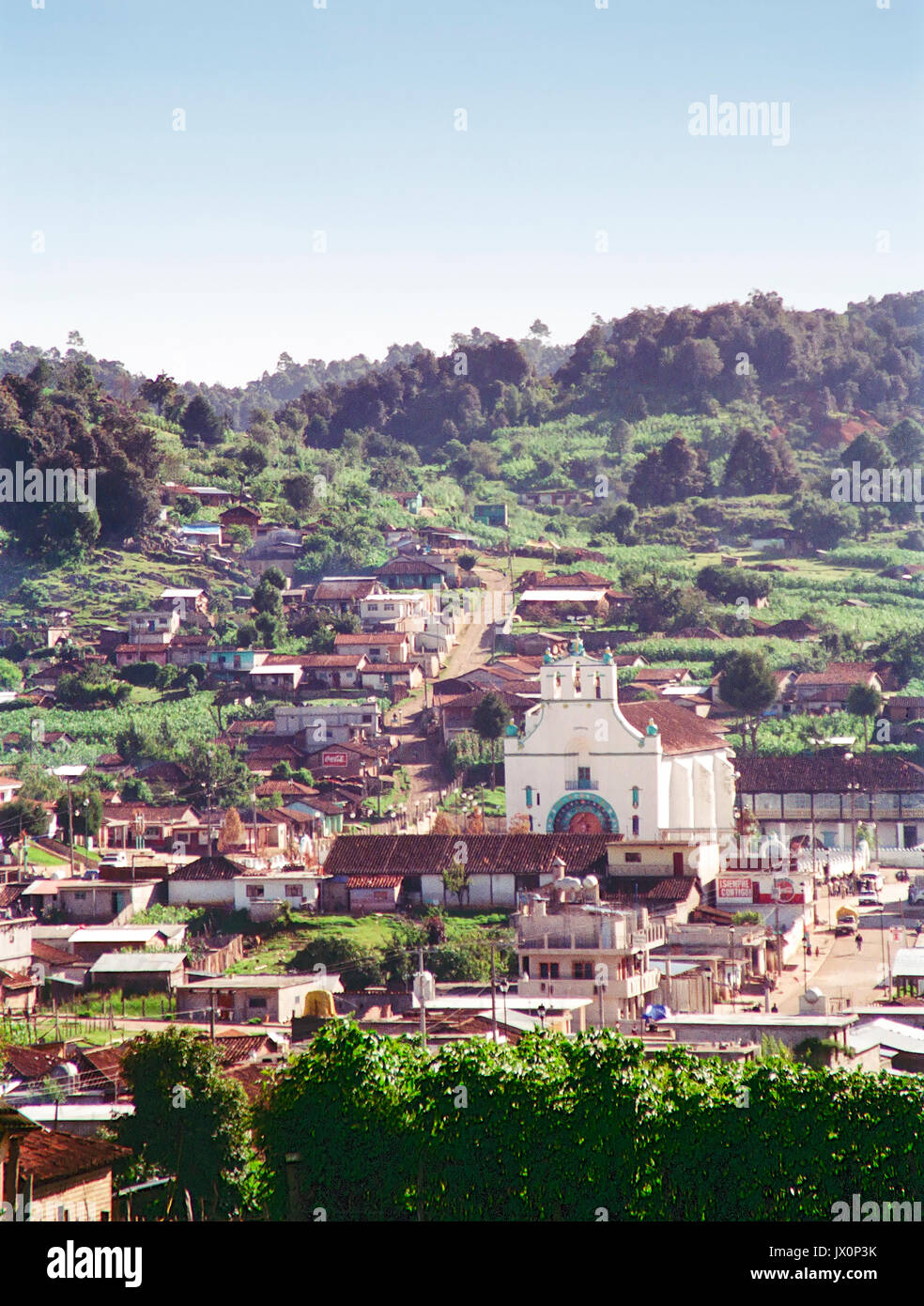Looking over the small village of San Juan Chamula in Chiapas, Mexico. - Stock Image