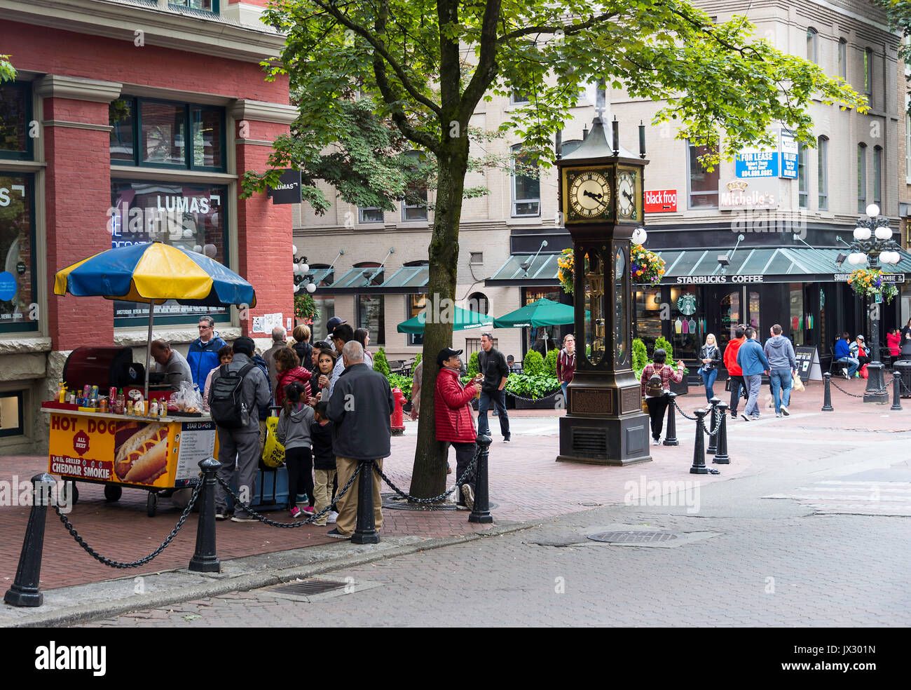 The Famous Gastown Steam Clock in Vancouver British Columbia Canada - Stock Image