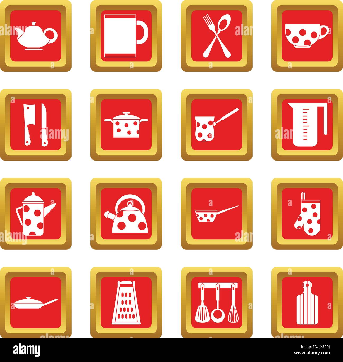 Kitchen Tools And Utensils Icons Set Red Stock Vector Art