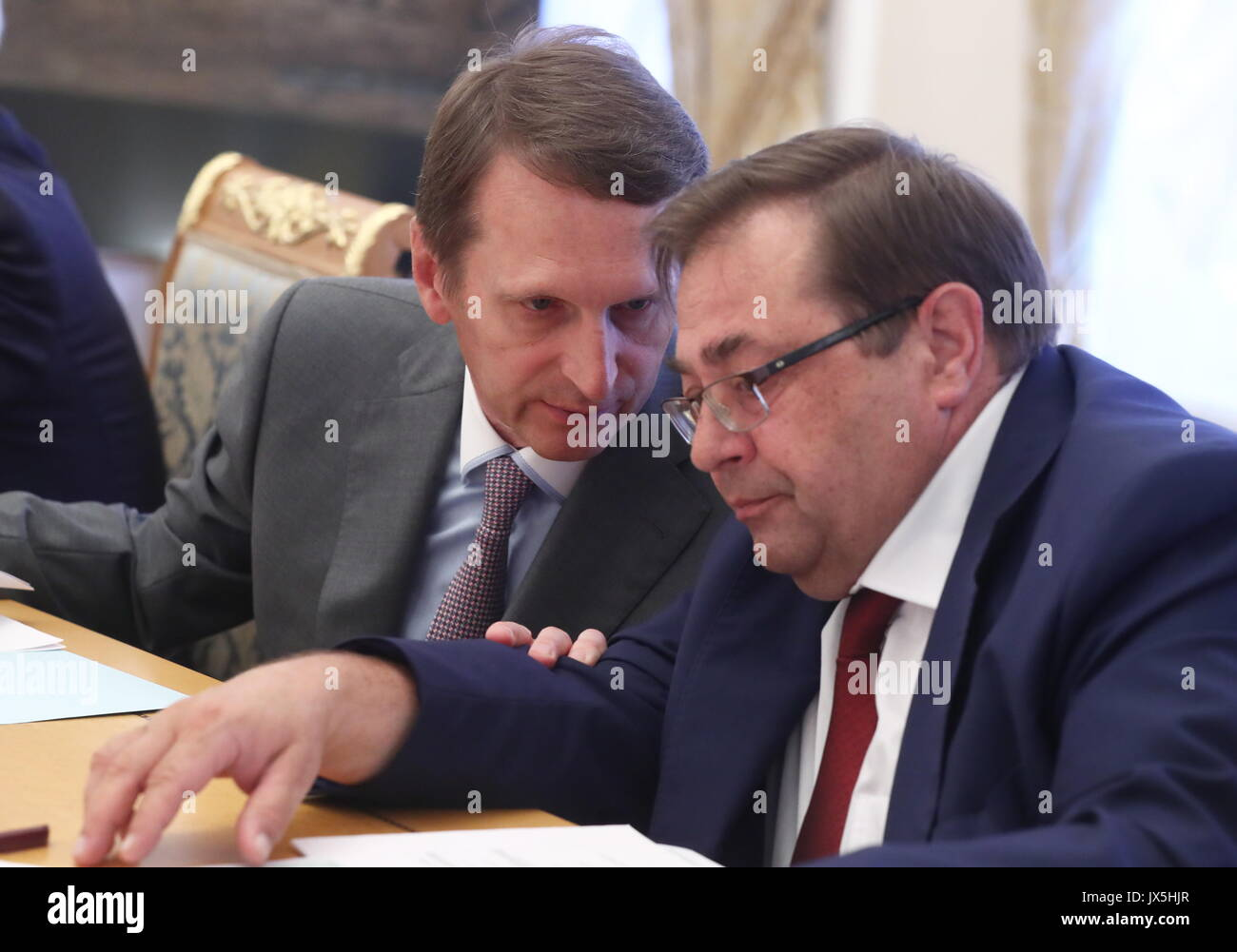 Moscow, Russia. 15th Aug, 2017. Russia's Foreign Intelligence Service Head, Russian Historical Society Chairman - Stock Image
