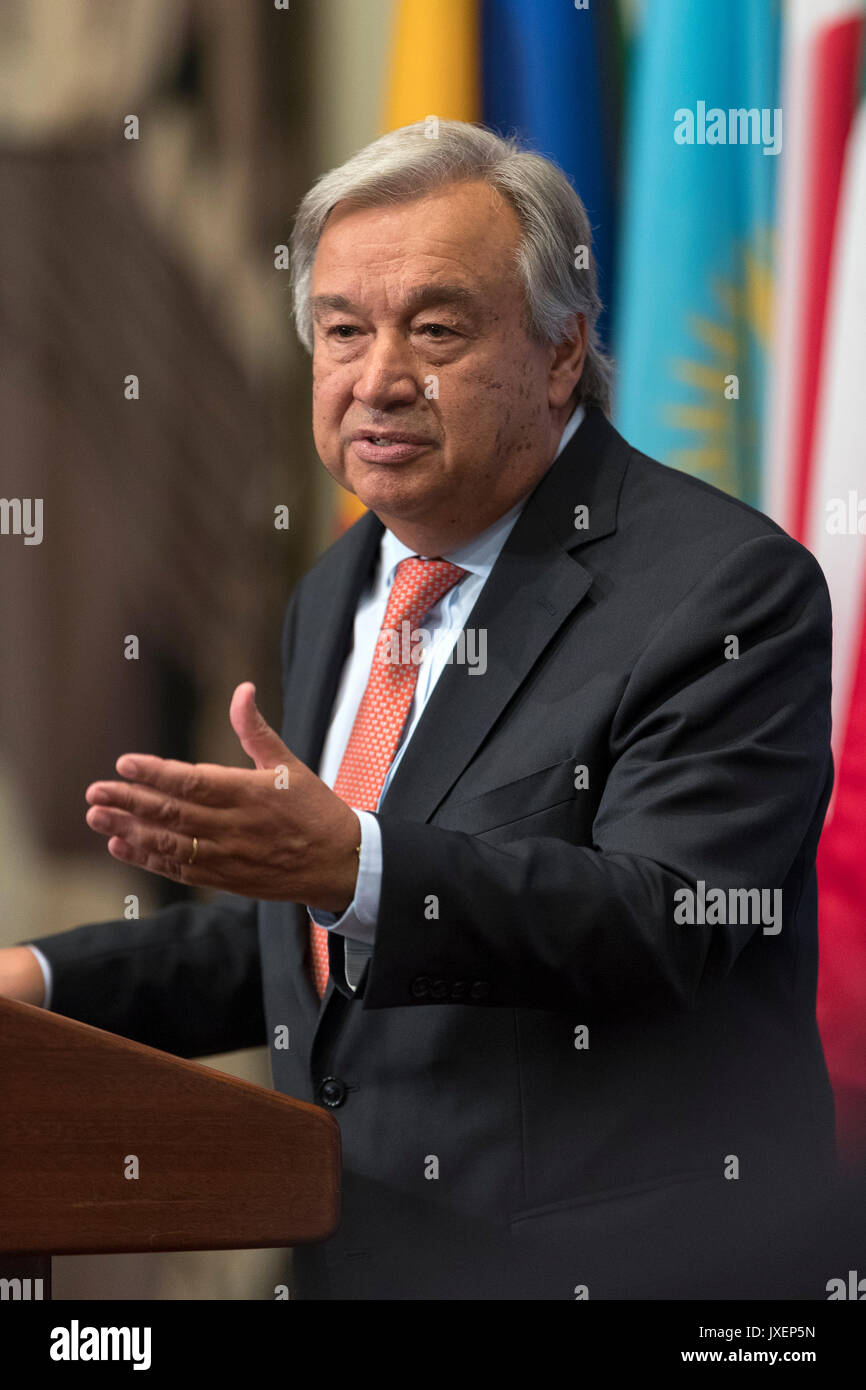 United Nations. 16th Aug, 2017. United Nations Secretary-General Antonio Guterres speaks to the press during a media - Stock Image