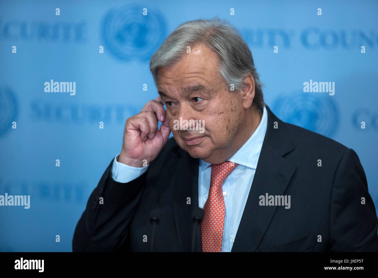 United Nations. 16th Aug, 2017. United Nations Secretary-General Antonio Guterres listens to a journalist's - Stock Image