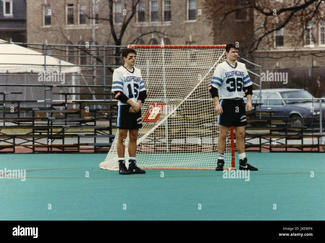 Lacrosse, Wills, Jeff, Lukacz, Brian Jeff Wills (#16) and Brian Lukacz (#36), the 1992 captains of the lacrosse - Stock Image
