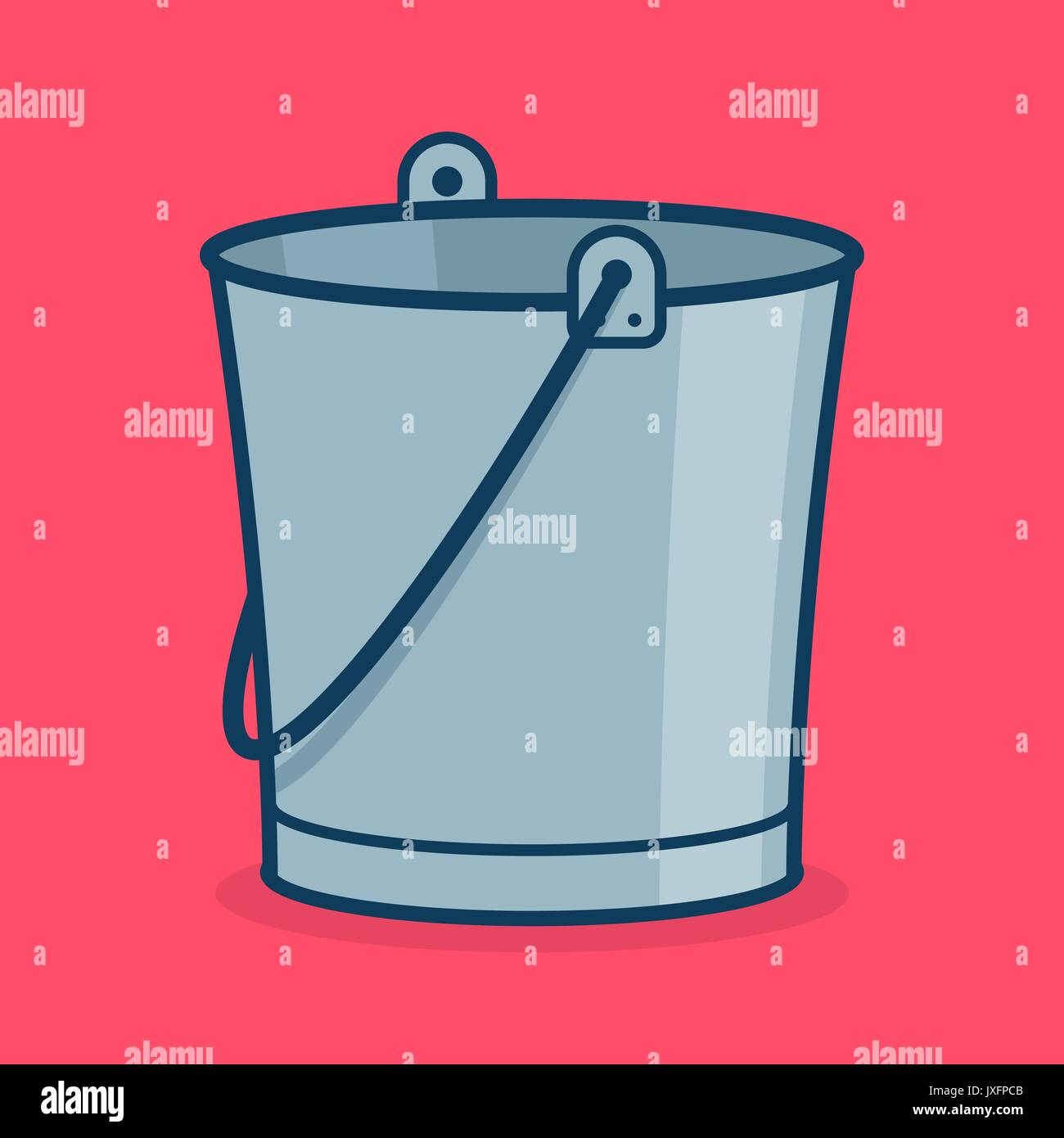 Metal bucket icon, sign or symbol for app. Tub for garden. Isolated ...