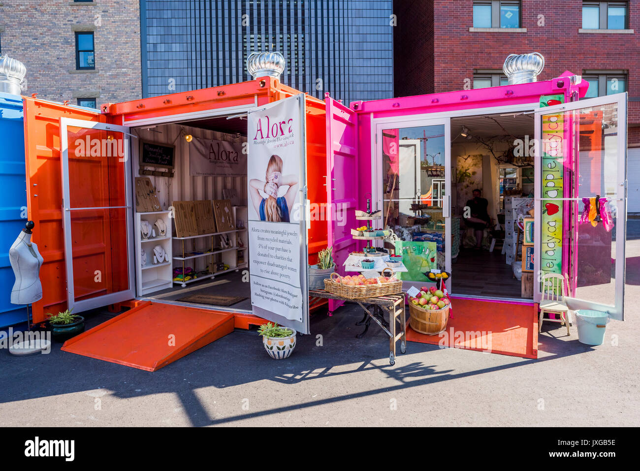 East Village Junction Pop up retail park, an innovative shipping container shopping hub , East Village, Calgary, - Stock Image
