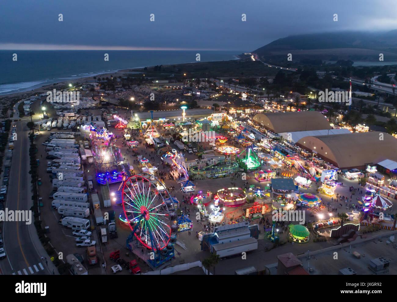 aerial view of the ventura county fair at night, ventura california