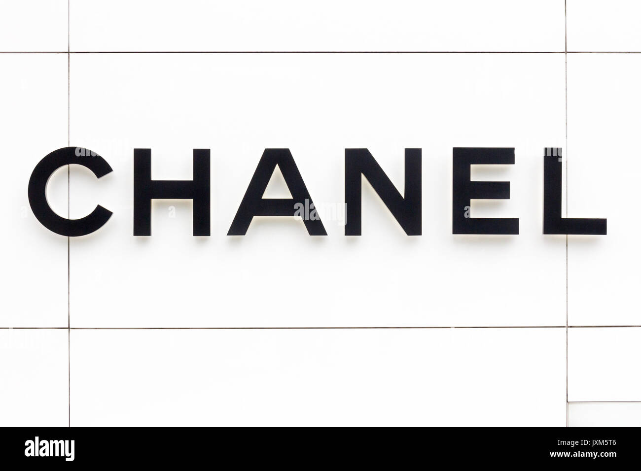 Chanel sign outside store in the EM Quartier shopping mall, Bangkok, Thailand - Stock Image