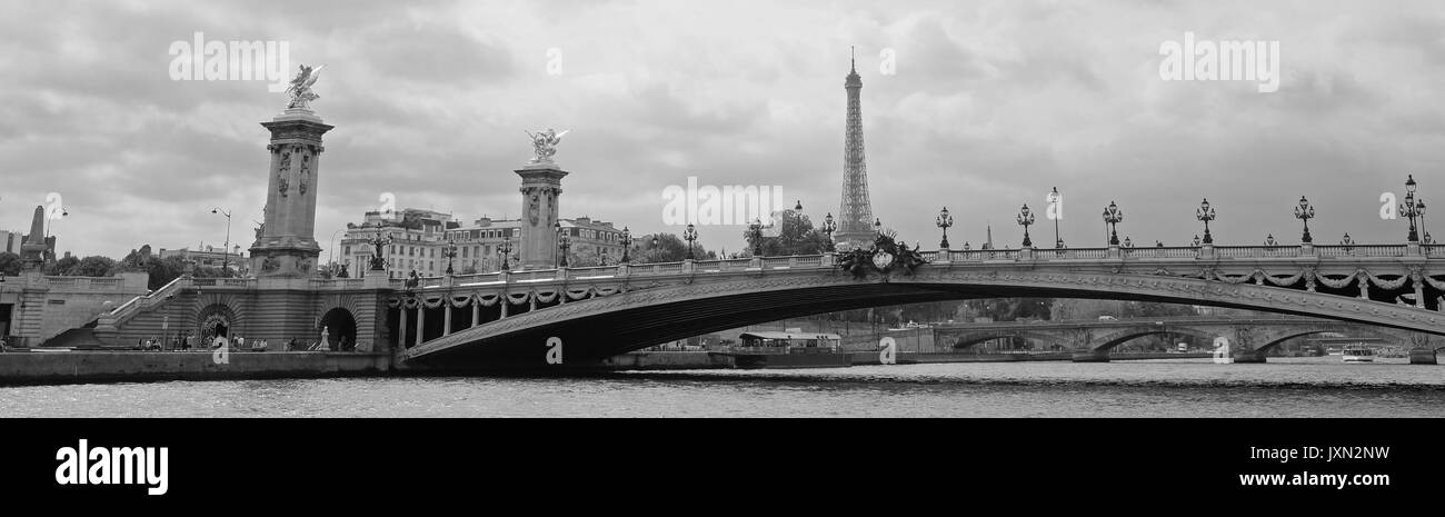 A panoramic view of Paris showing the Pont Alexandre III and the Eiffel Tower behind, shot in black and white - Stock Image