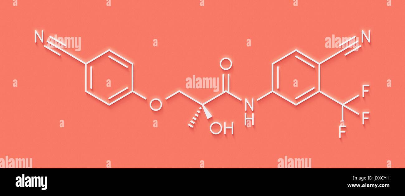 Enobosarm drug molecule. Selective androgen receptor modulator (SARM) that is also used in sports doping. Skeletal - Stock Image