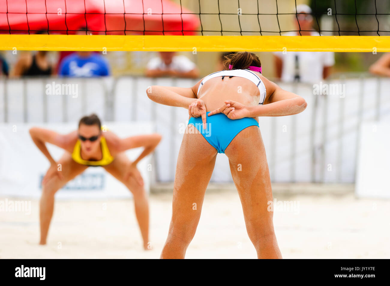 Volleyball player is a female beach volleyball beach player giving hand signals to her team mate while she faces - Stock Image