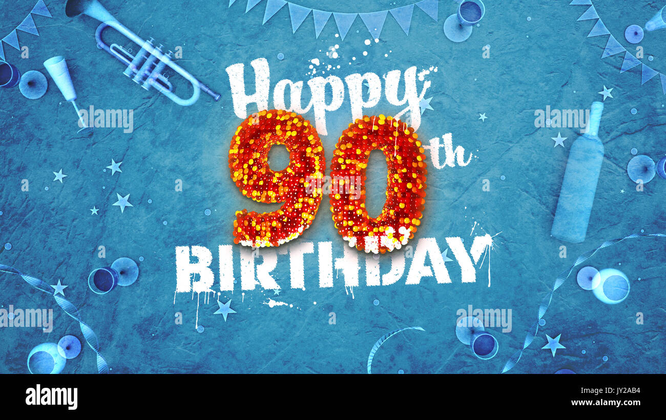 Happy 90th Birthday Card With Beautiful Details Such As Wine Bottle Champagne Glasses Garland Pennant Stars And Confetti Blue Background Red