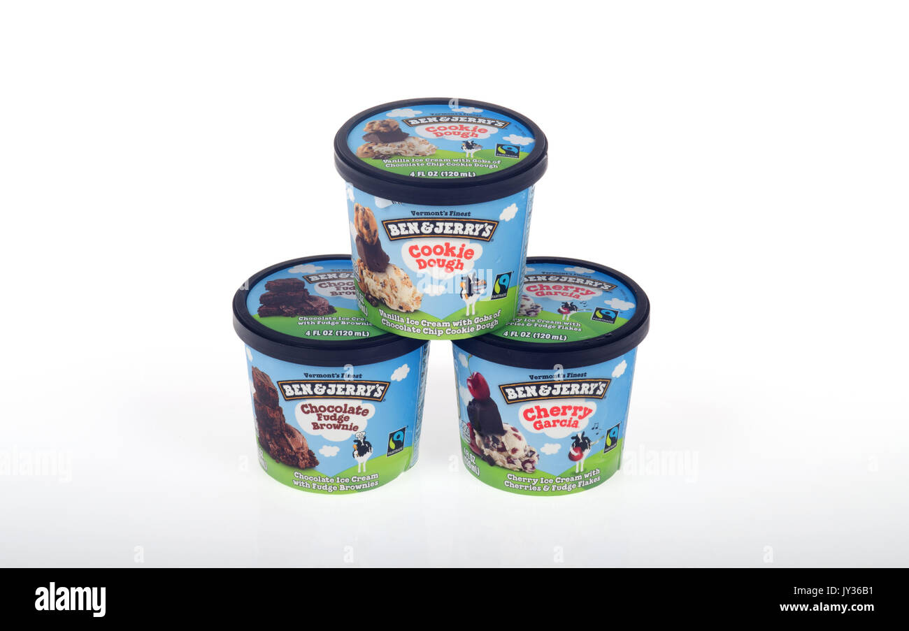 Pots of Ben & Jerry's ice cream on white background, isolate. USA - Stock Image