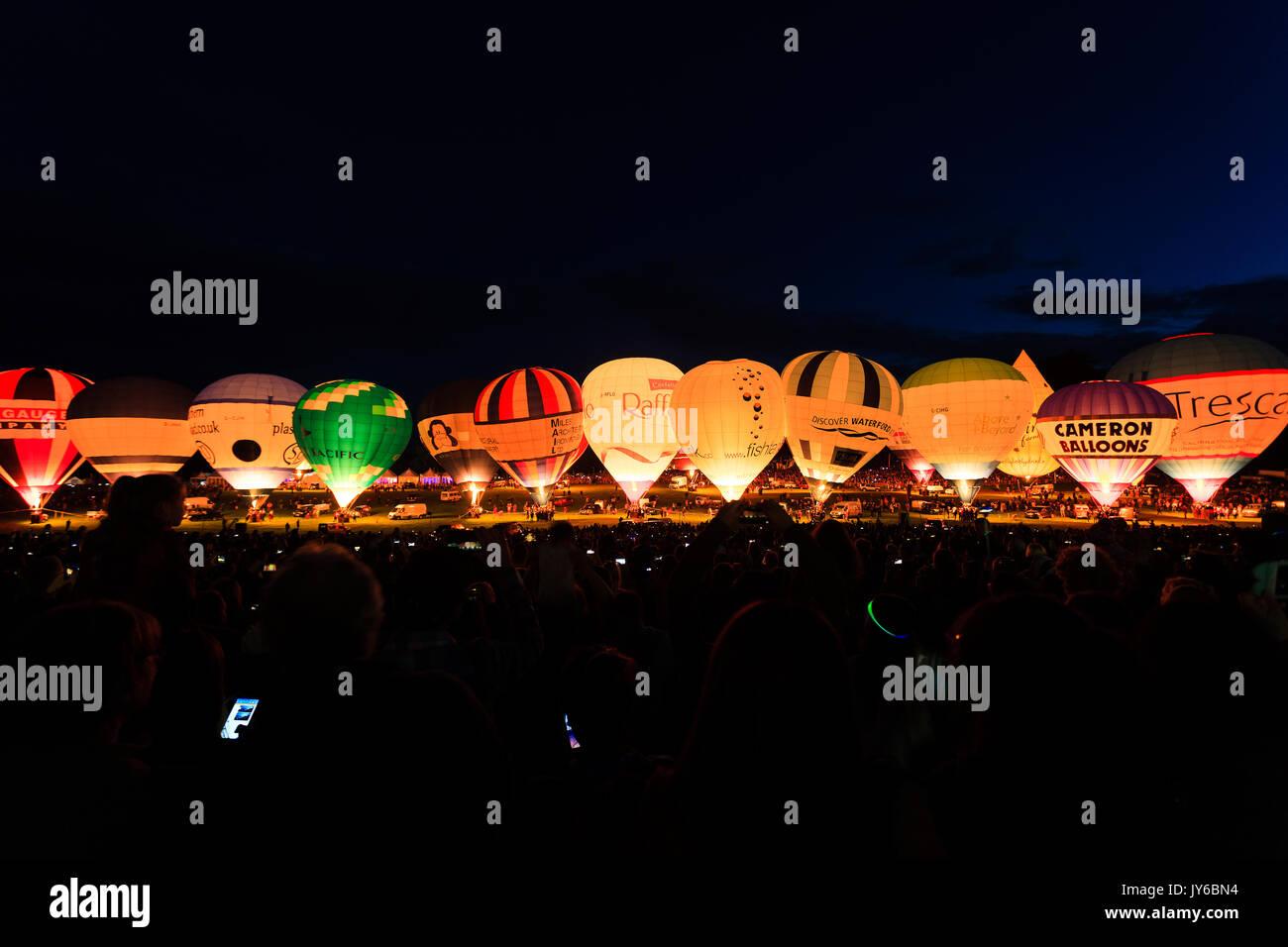 A view of the Night Glow at Bristol Balloon Fiesta 2017 at Ashton Court, Bristol. - Stock Image