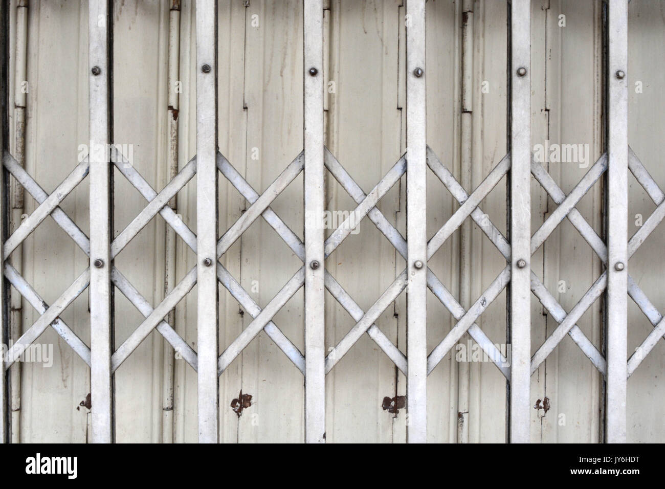 Thai gate House textures.Old steel door. - Stock Image