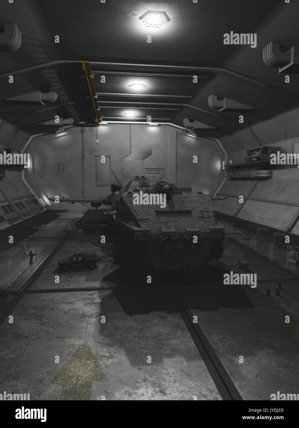 Interplanetary Spaceship in Repair Dock - Stock Image