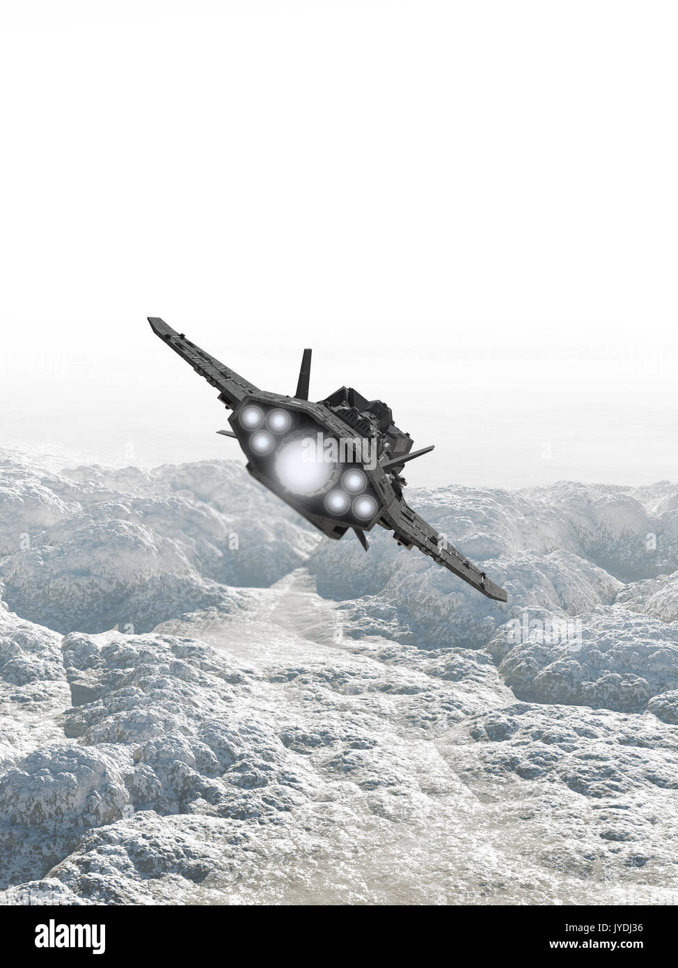Interplanetary Spaceship Flying Over a Rocky Planet - Stock Image