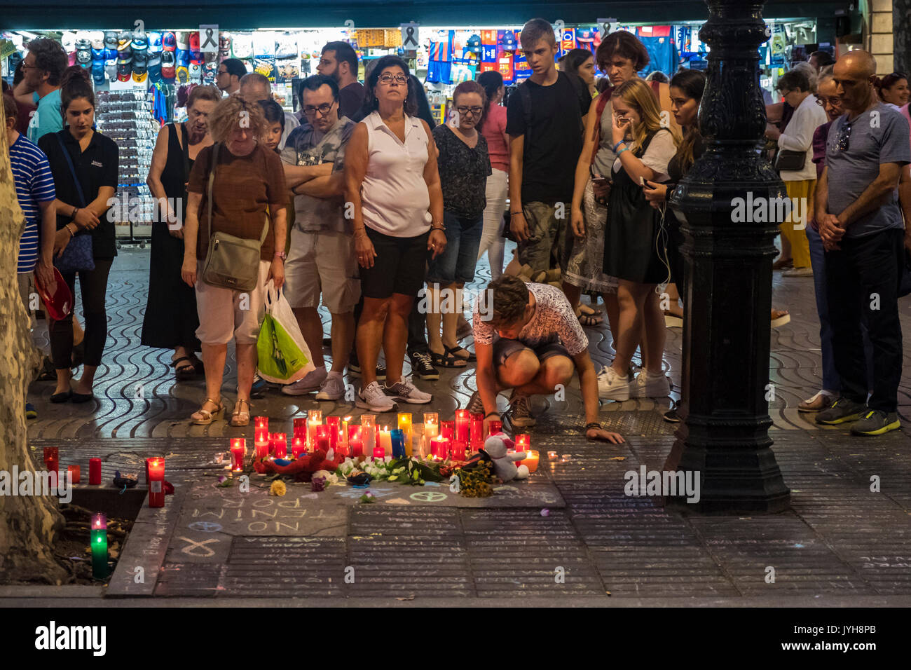 Barcelona, Spain. 19th Aug, 2017. On 19 August 2017 the city of Barcelona suffered the ISIS terrorist attack, with Stock Photo