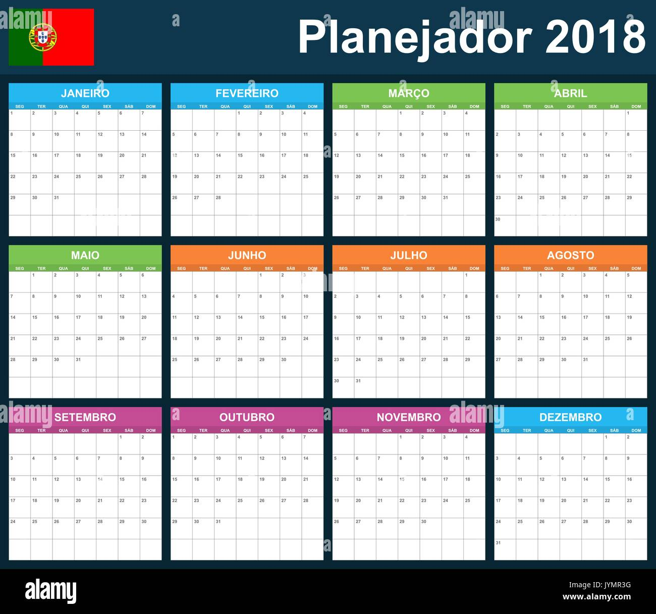 portuguese planner blank for 2018 scheduler agenda or diary stock