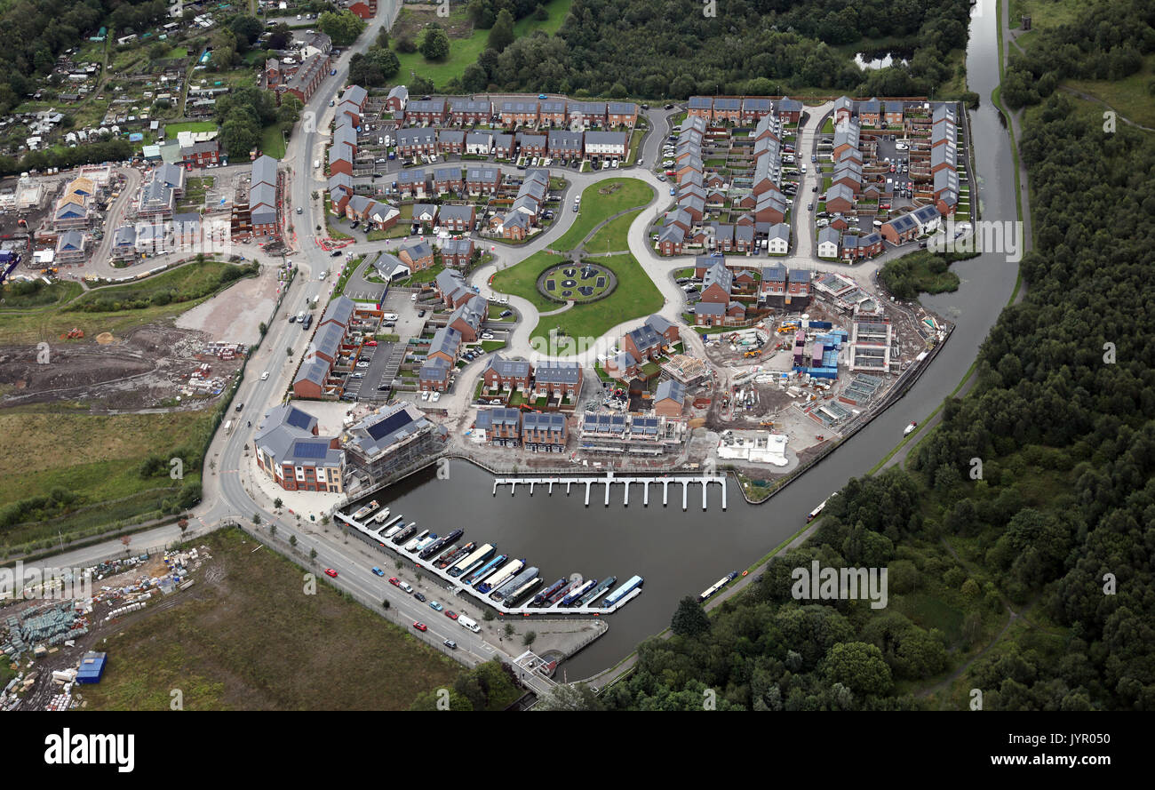 aerial view of new house building, Leigh, Lancashire, UK - Stock Image