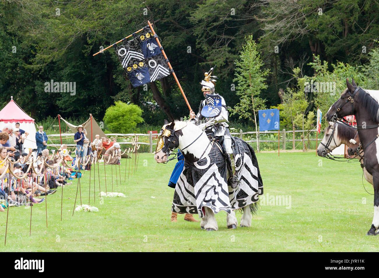 Jousting re-enactmentsat Arundel Castle, Sussex, England - Stock Image