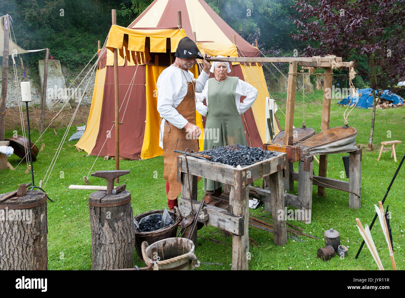 A demonstration of traditional Blacksmith tools - Stock Image