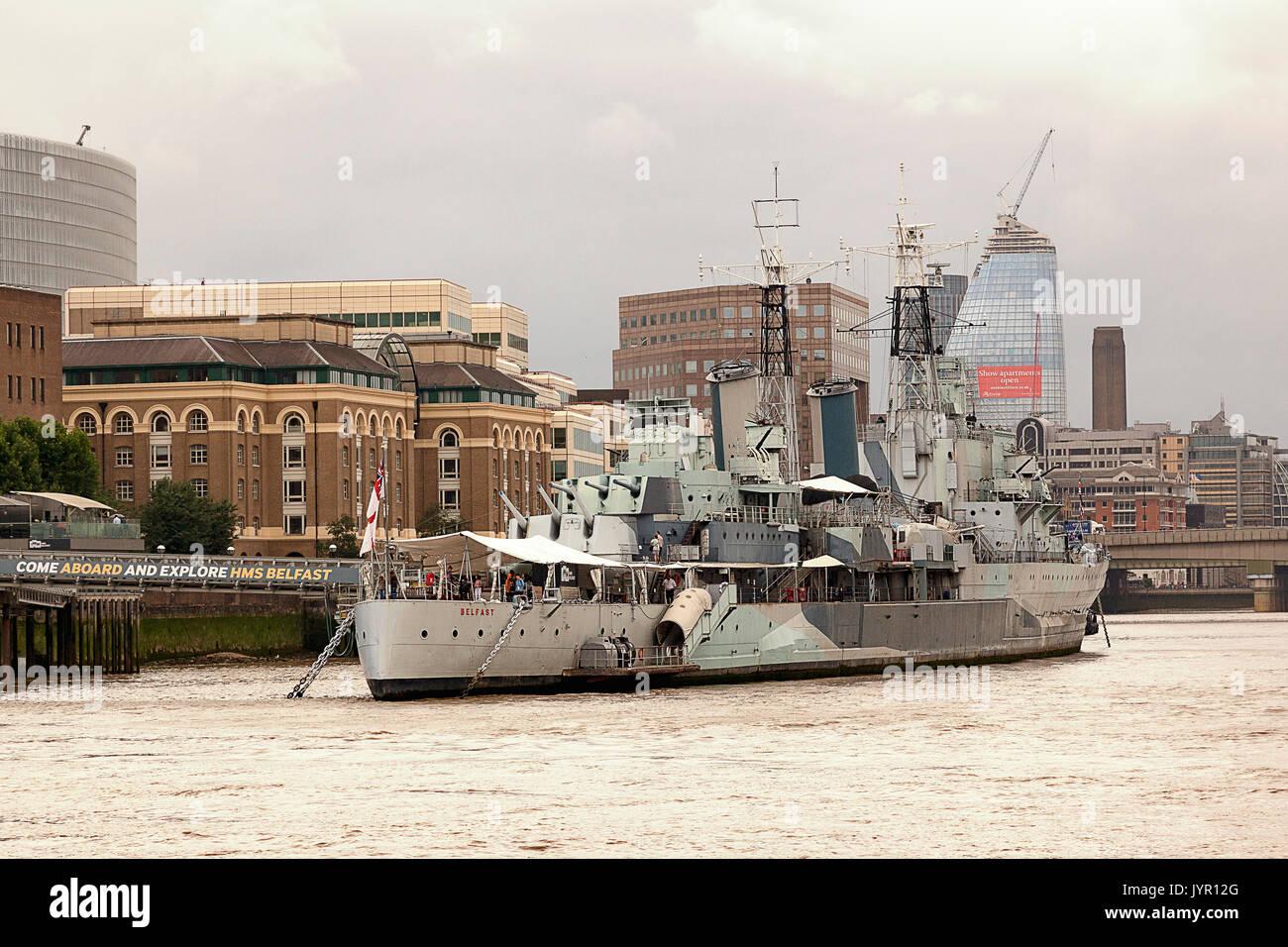 HMS Belfast, London, England - Stock Image