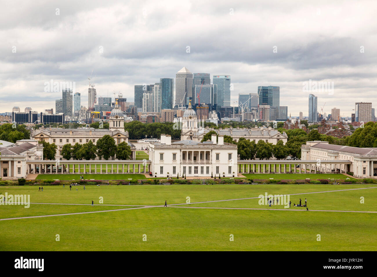 The Royal Maritime Museum viewed from The Royal Observatory, Greenwich, England - Stock Image