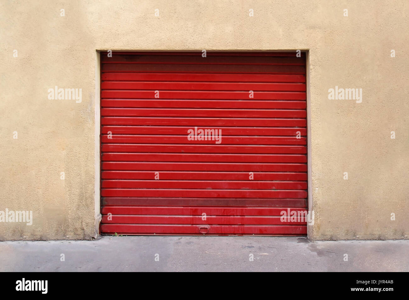 Nice Closed Red Garage Metal Roller Door Exterior   Stock Image