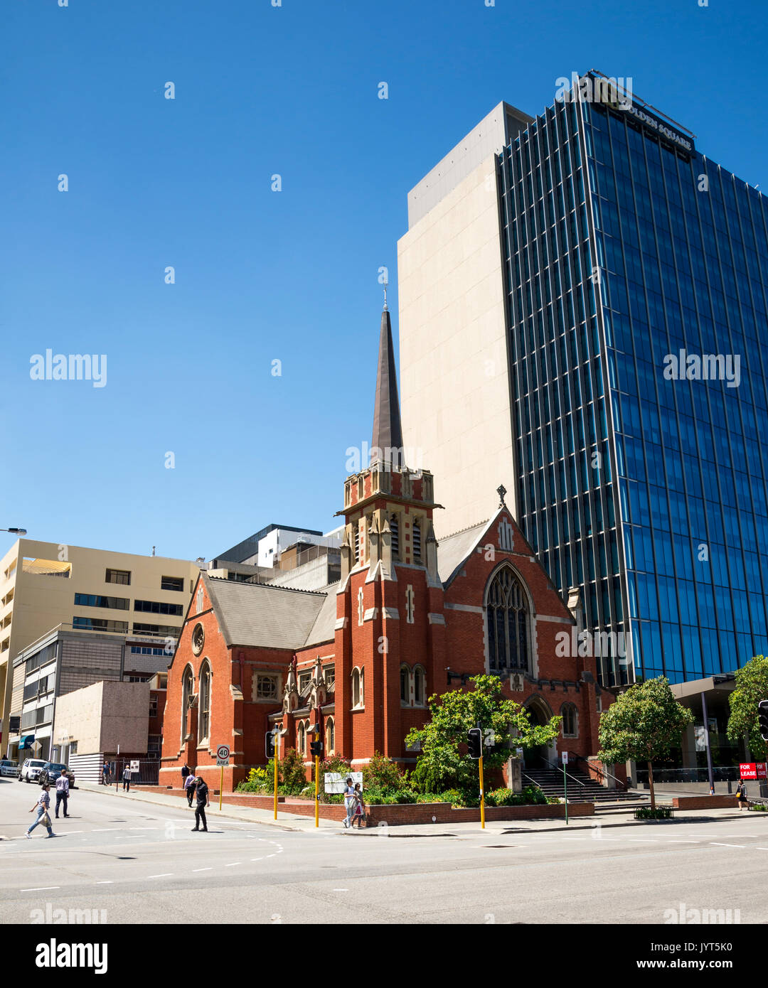 Wesley Uniting Church at corner of Hay Street and William Street in Perth City, Western Australia - Stock Image