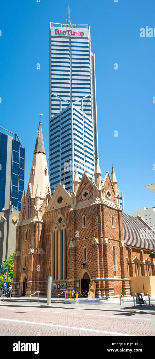 Wesley Uniting Church with RioTinto building on the background in Perth City, Western Australia - Stock Image
