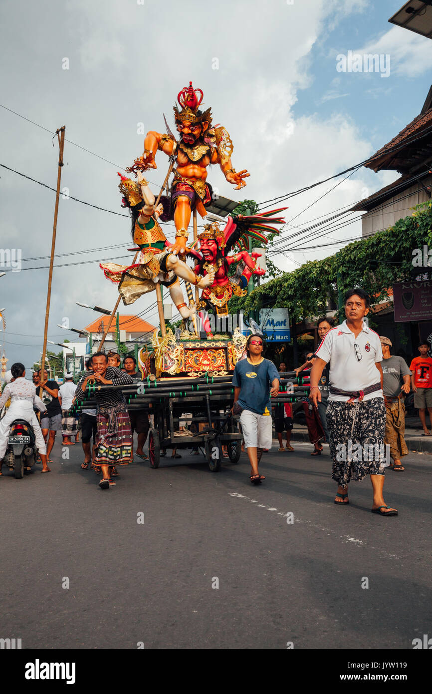 Bali, Indonesia - March 08, 2016:   Ogoh-Ogoh statues are transported to the parade during Balinese New Year celebrations Stock Photo