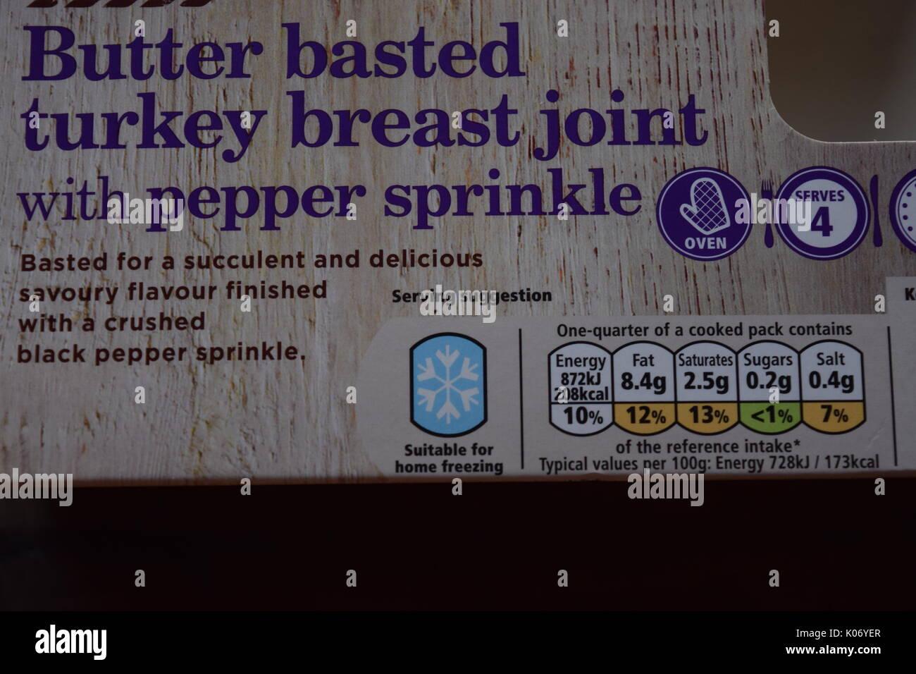 Turkey breat food label - Stock Image