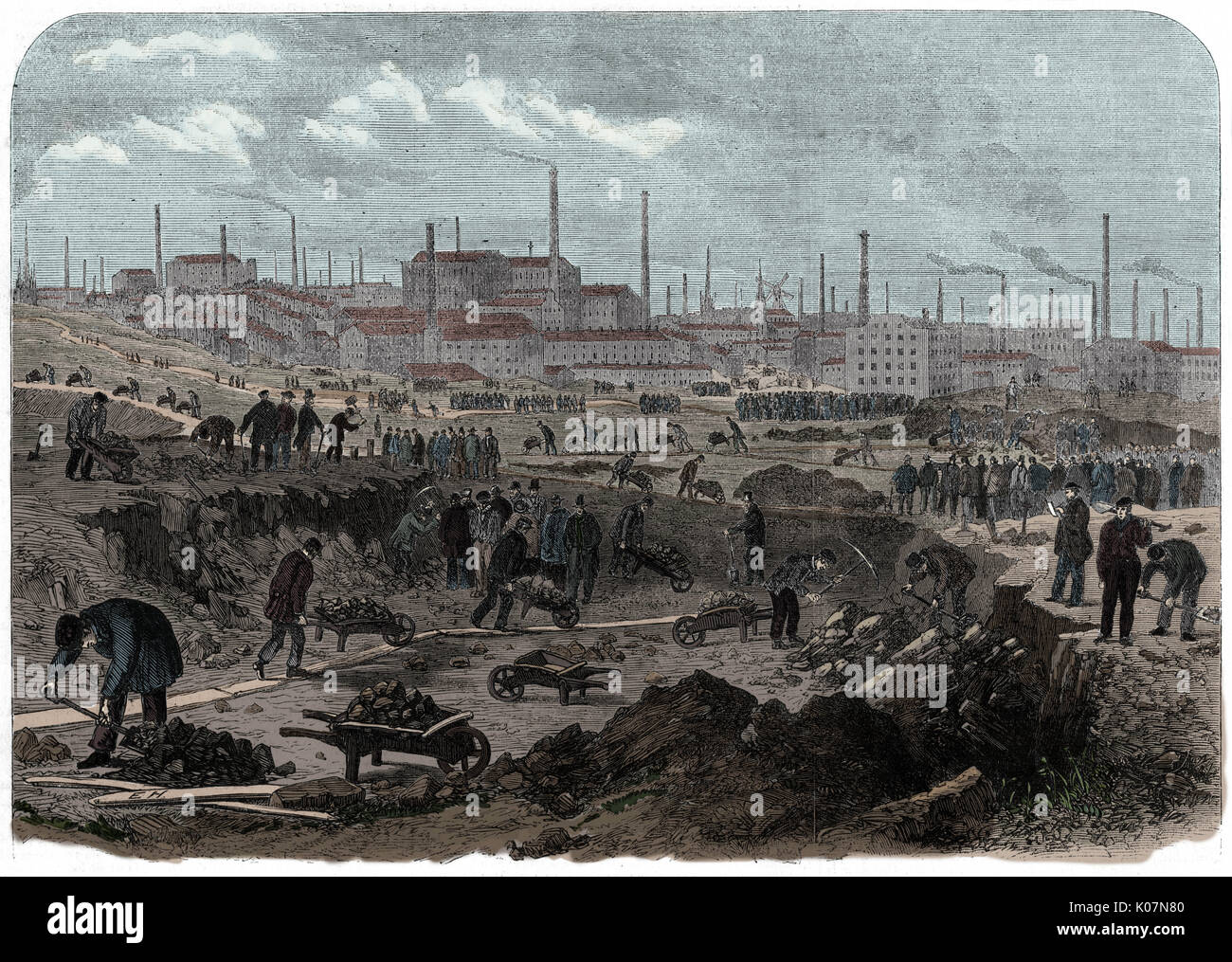 Distress in Lancashire: mill-hands work on Preston Moors. Unemployed operatives levelling waste ground on the north - Stock Image