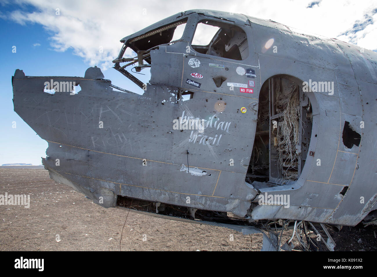 DC 3 Airplane wreck on Solheimasandur floodplane in south Iceland - Stock Image
