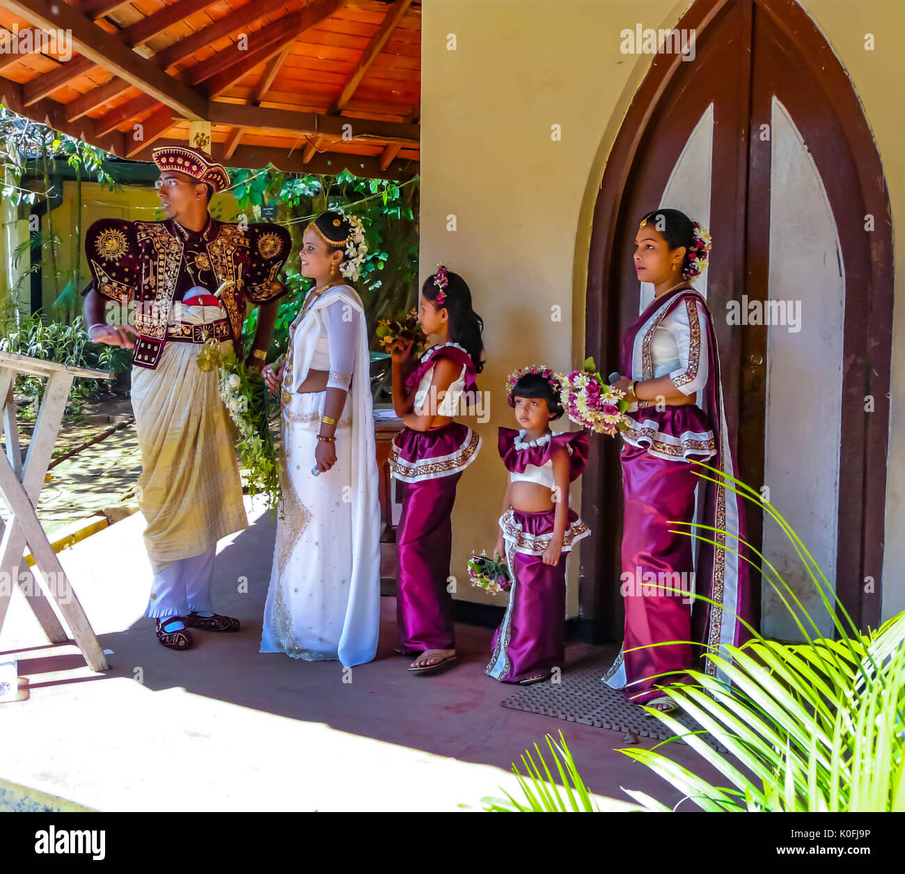 Sri Lankan Wedding, the Groom, Bride and Bridesmaids in traditional ...
