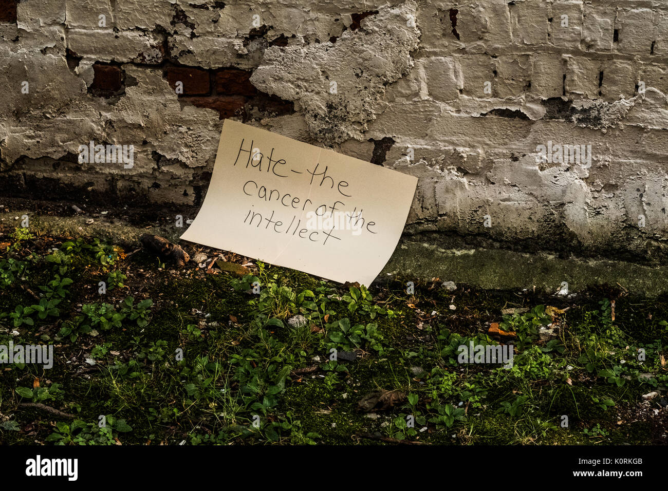 Sign protesting the recent racial unrest and presidential comments after an anti-hate protest in Middletown NY - Stock Image