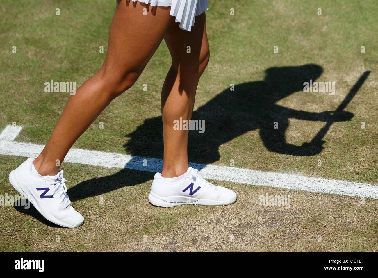 Generic tennis shadow of Heather Watson at the Ladies' Singles - Wimbledon Championships 2017 - Stock Image