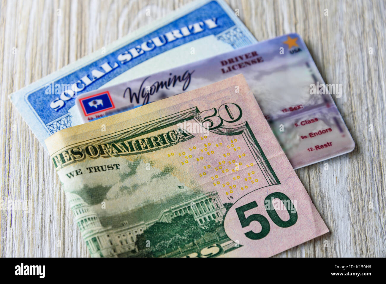 New driver license fee in Wyoming USA. Any class CDL (Commercial Driver License) - Stock Image