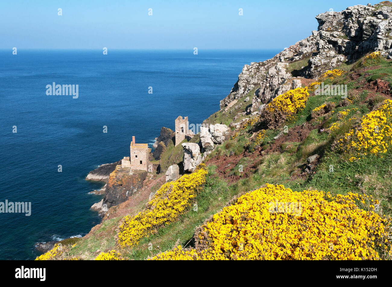crowns engine houses on the coastal cliffs at the old closed down botallack tin mine in cornwall, england, britain, - Stock Image