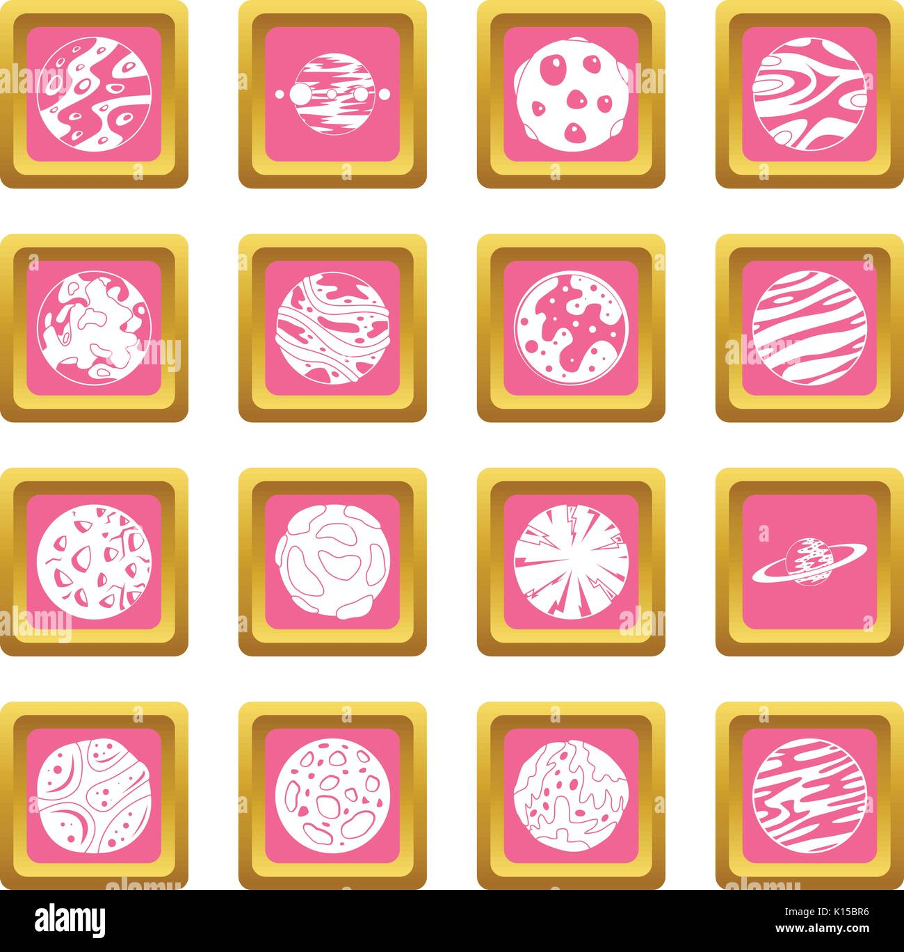 Fantastic planets icons pink - Stock Image